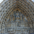 Notre Dame Cathedral, Paris. Central portal depicting the Last Judgment — Stock Photo