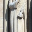 King, Notre Dame Cathedral, Paris, Portal of St. Anne — Stock Photo