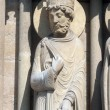 King, Notre Dame Cathedral of Sheba, Paris, Portal of St. Anne — Stock Photo #15347599