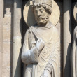 King, Notre Dame Cathedral of Sheba, Paris, Portal of St. Anne — Stock Photo