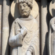 King, Notre Dame Cathedral, Paris, Portal of St. Anne — 图库照片