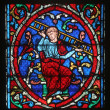 Colorful stained glass window in Cathedral Notre Dame de Paris — Foto de Stock