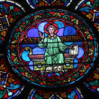 Colorful stained glass window in Cathedral Notre Dame de Paris — ストック写真