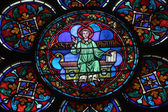 Colorful stained glass window in Cathedral Notre Dame de Paris — Stock Photo