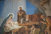 Nativity scene, Bethlehem Shepherds Field Church — Stock Photo