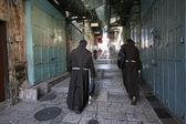 Monks on the street of Jerusalem — Stock Photo