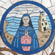 Saint Monica, Mosaic in front of church on Mount of Beatitudes — Foto Stock #15481157