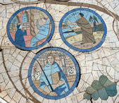 Mosaic in front of the church on the Mount of Beatitudes — Stock Photo