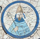 Saint Ambrose, Mosaic in front of the church on the Mount of Beatitudes — Foto Stock