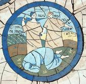 A mulher pecar, mosaico em frente à igreja do monte das bem-aventuranças — Foto Stock