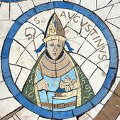Santo agostinho de hipona, mosaico em frente à igreja do monte das bem-aventuranças — Foto Stock