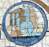 Saint Justin Martyr, Mosaic in front of the church on the Mount of Beatitudes — Foto Stock