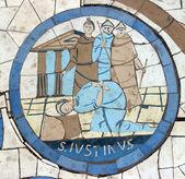 São justino, o mártir, mosaico em frente à igreja do monte das bem-aventuranças — Foto Stock