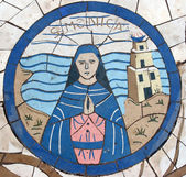 Saint Monica, Mosaic in front of the church on the Mount of Beatitudes — Foto Stock