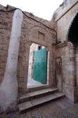 Porta no mosteiro etíope, igreja do santo sepulcro, jerusalém, israel — Foto Stock