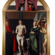 Madonna patroness, Saint Sebastian and the saints - Stock Photo