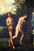 Expulsion of Adam and Eve from paradise — Stock Photo