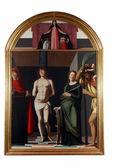Virgen patrona, san sebastián y los santos — Foto de Stock