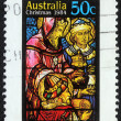 Stamp printed in Australia shows birth of Jesus Christ, adoration of the Magi — Stock Photo