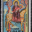 Stamp printed in Spain shows Flight to Egypt — Stock Photo