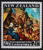 Christmas stamp printed in New Zealand — Stock Photo