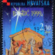Christmas stamp printed in the Croatia shows Christmas Creche — Stock Photo