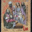 Christmas stamp printed in the Croatia shows birth of Jesus Christ, adoration of the Magi — Stock Photo #15510701