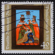 Stamp printed in the Germany shows birth of Jesus Christ, adoration of the Magi — Stock Photo