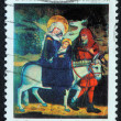 Christmas stamp printed in Poland shows Flight to Egypt — Stock Photo