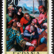 Stamp printed in Spain shows St. Stephen in the synagogue — Stock Photo