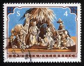 Weihnachten Briefmarke gedruckt in Österreich zeigt Weihnachten Krippe — Stockfoto