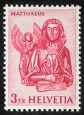 Stamp printed in Switzerland showing Saint Mattheus the Evangelist — Stock Photo