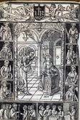 De annunciatie, de pagina van middeleeuwse missaal — Stockfoto