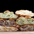 Burek (pie with meat, cheese or spinach) is traditional Balkanian meal — Stock Photo