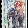 Royalty-Free Stock Photo: Stamp printed in Laos shows the elephant