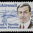 Stamp printed in the USA, shows Alfred V. Verville — Stock Photo