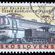 Stamp printed in Czechoslovakia, shows centenary of the railway Czech Budojevice - Plzen — Stock Photo
