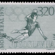 Stamp printed in Yugoslavia shows olympic games in Montreal — Stock Photo