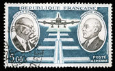 Stamp printed by France, shows Didier Daurat and Raymond Vanier — Stock Photo