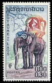 Stamp printed in Laos shows the elephant — Stock Photo