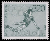 Stamp printed in Yugoslavia shows olympic games in Montreal — ストック写真