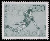 戳印在南斯拉夫在蒙特利尔显示奥林匹克运动会 — 图库照片