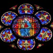 Stained glass window in Cathedral Notre Dame de Paris — Стоковая фотография