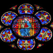 Stained glass window in Cathedral Notre Dame de Paris — Foto de Stock