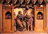 Cenas da vida de jesus, catedral de notre dame, paris — Foto Stock