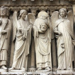 Emperor Constantine, an angel, Saint Denis holding his head, and another angel. — Stock Photo