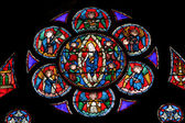 Stained glass window in Cathedral Notre Dame de Paris — Stock Photo