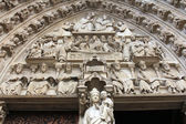 Notre Dame Cathedral, Paris, Portal of the Virgin — Stock Photo