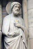 圣徒彼得、 巴黎圣母院、 巴黎 — 图库照片
