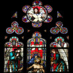 Pieta, stained glass — Stock Photo